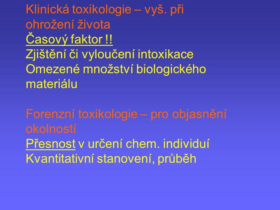 Klinická toxikologie – vyš. při ohrožení života