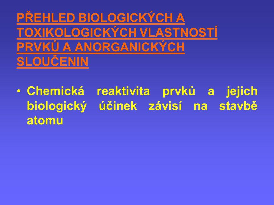 PŘEHLED BIOLOGICKÝCH A TOXIKOLOGICKÝCH VLASTNOSTÍ PRVKŮ A ANORGANICKÝCH SLOUČENIN