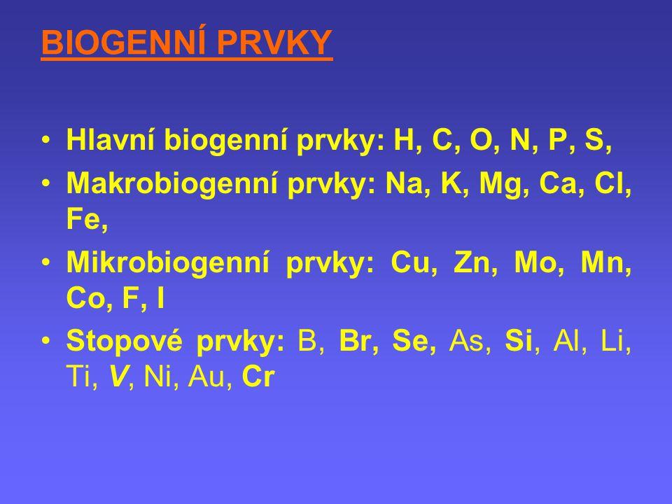 BIOGENNÍ PRVKY Hlavní biogenní prvky: H, C, O, N, P, S,
