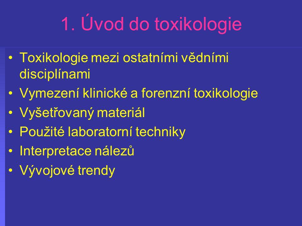 1. Úvod do toxikologie Toxikologie mezi ostatními vědními disciplínami