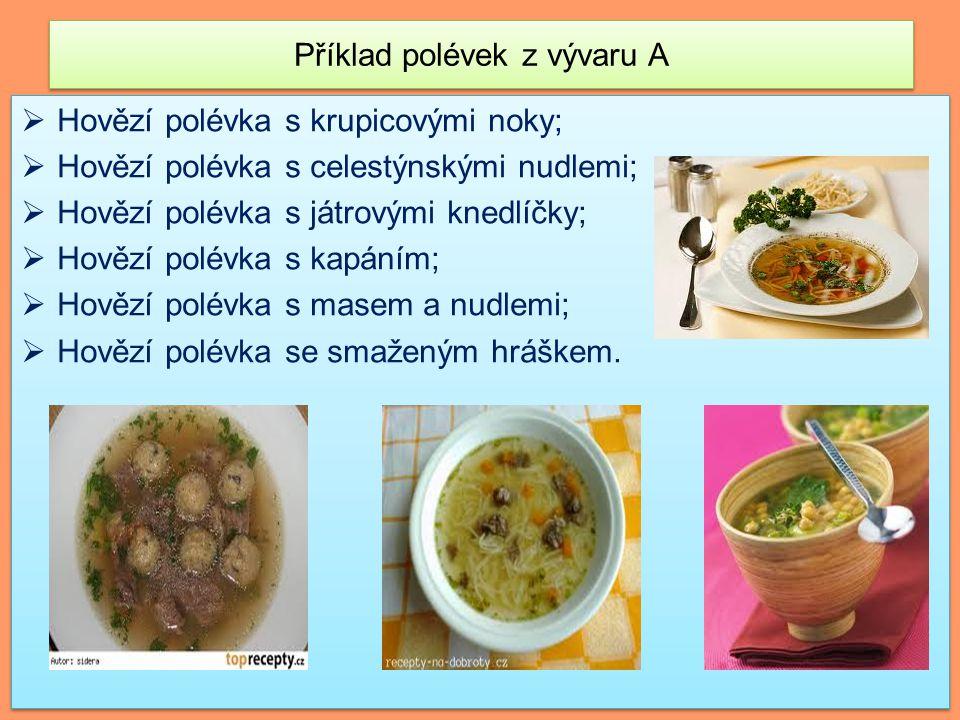 Příklad polévek z vývaru A