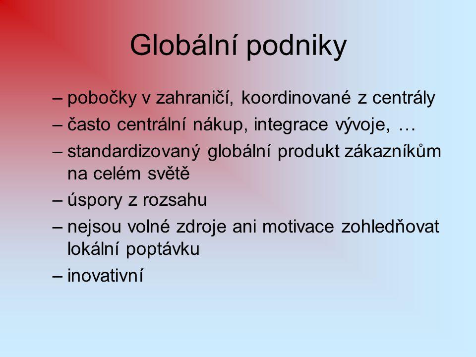 Globální podniky pobočky v zahraničí, koordinované z centrály