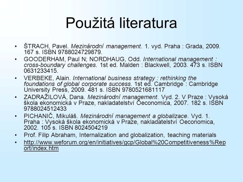 Použitá literatura ŠTRACH, Pavel. Mezinárodní management. 1. vyd. Praha : Grada, 2009. 167 s. ISBN 9788024729879.