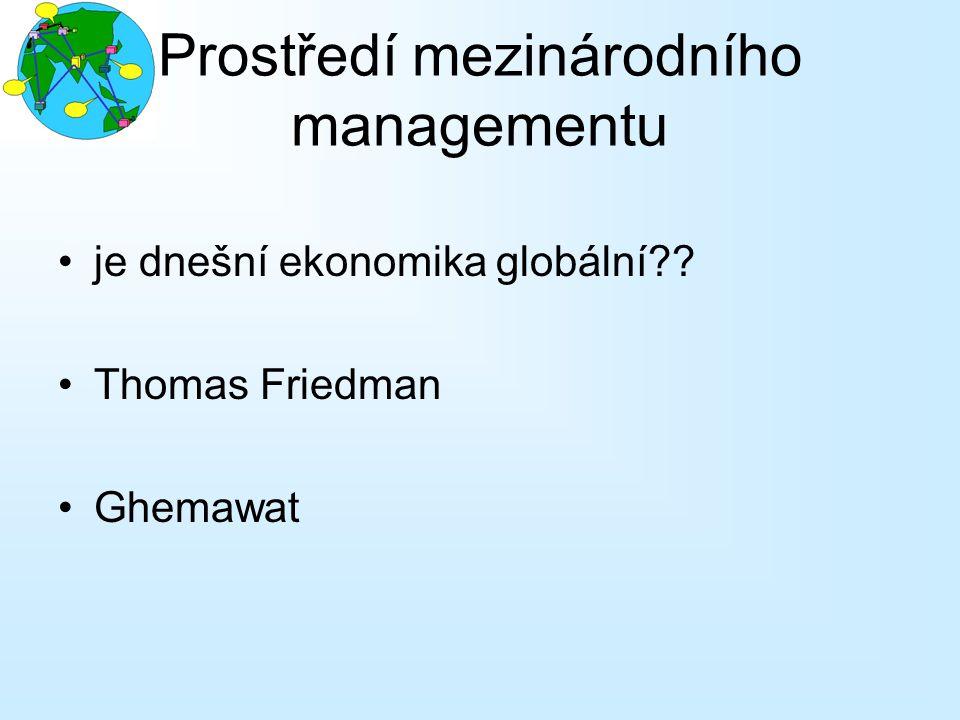Prostředí mezinárodního managementu