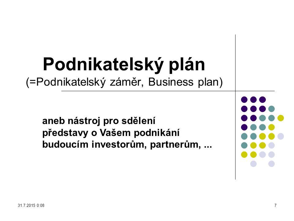 Podnikatelský plán (=Podnikatelský záměr, Business plan)