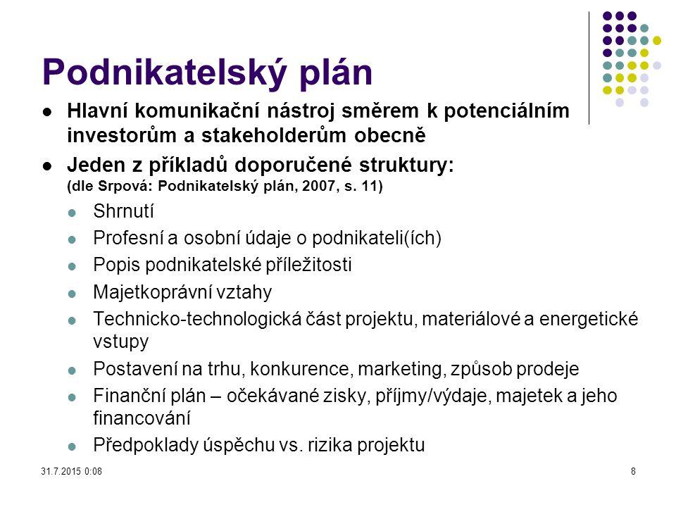 Podnikatelský plán Hlavní komunikační nástroj směrem k potenciálním investorům a stakeholderům obecně.