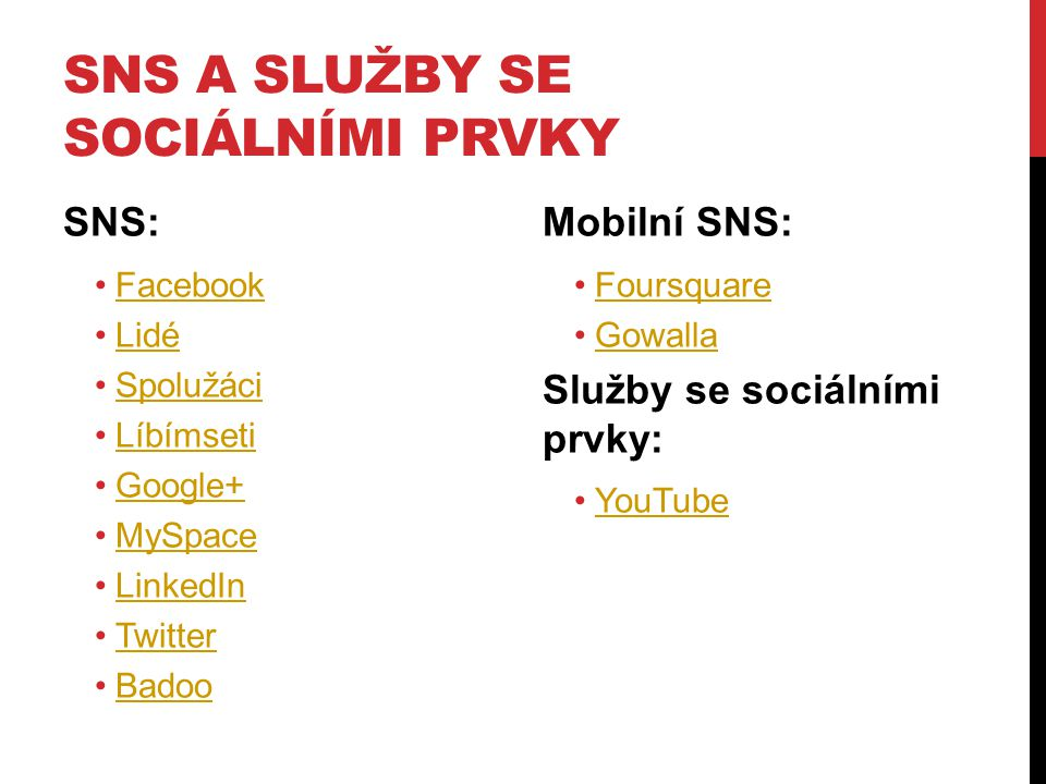 SNS a služby se sociálními prvky