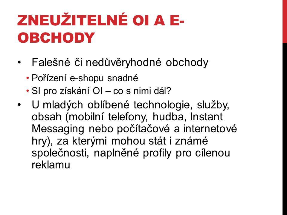 Zneužitelné OI a e-obchody