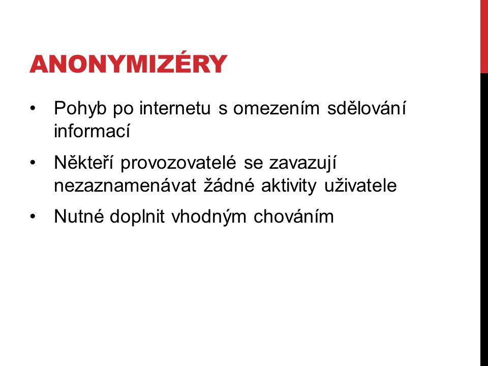 Anonymizéry Pohyb po internetu s omezením sdělování informací