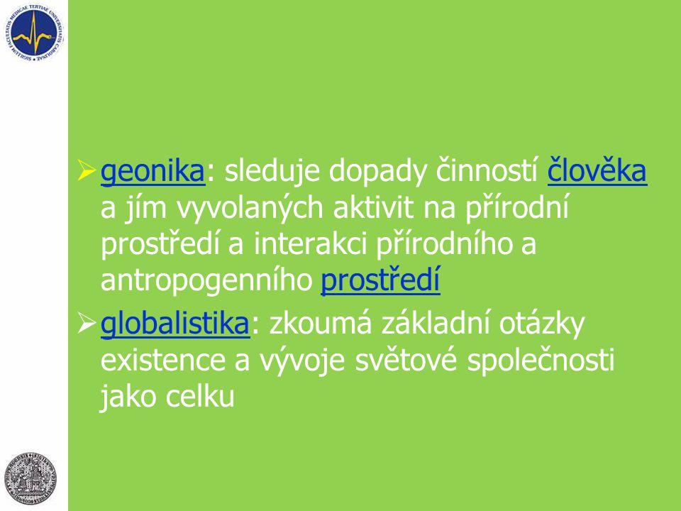 geonika: sleduje dopady činností člověka a jím vyvolaných aktivit na přírodní prostředí a interakci přírodního a antropogenního prostředí