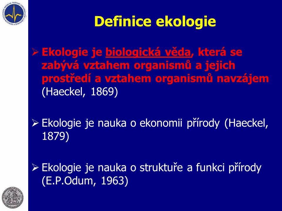 Definice ekologie Ekologie je biologická věda, která se zabývá vztahem organismů a jejich prostředí a vztahem organismů navzájem (Haeckel, 1869)