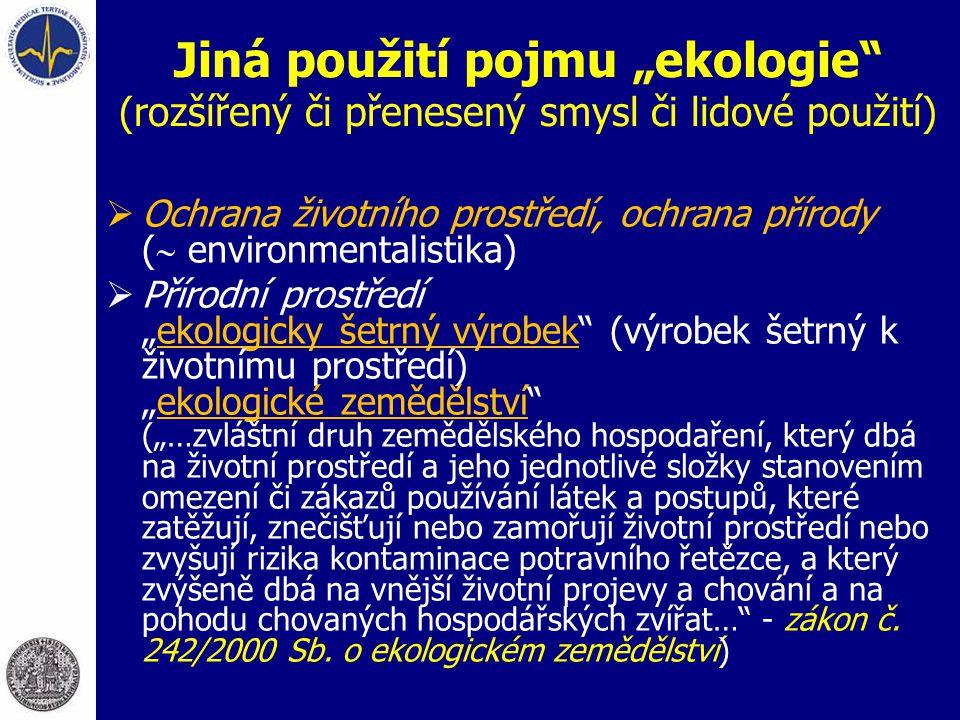 """Jiná použití pojmu """"ekologie (rozšířený či přenesený smysl či lidové použití)"""