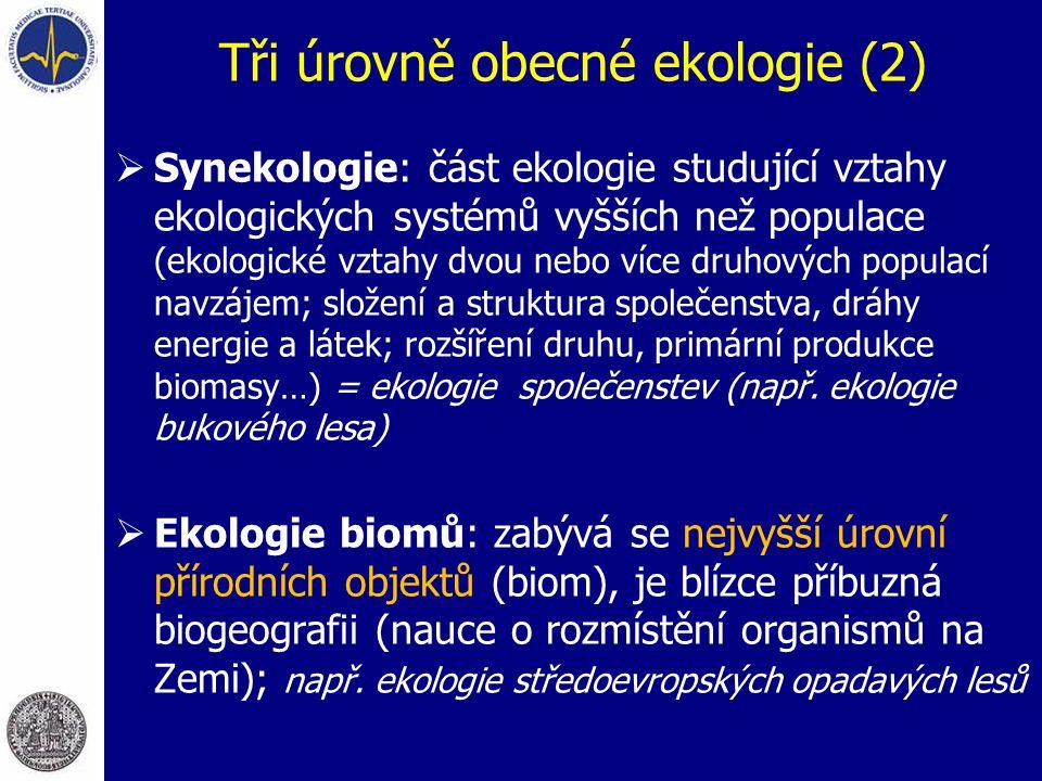 Tři úrovně obecné ekologie (2)