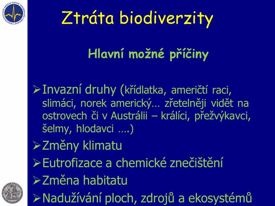 Ztráta biodiverzity Hlavní možné příčiny
