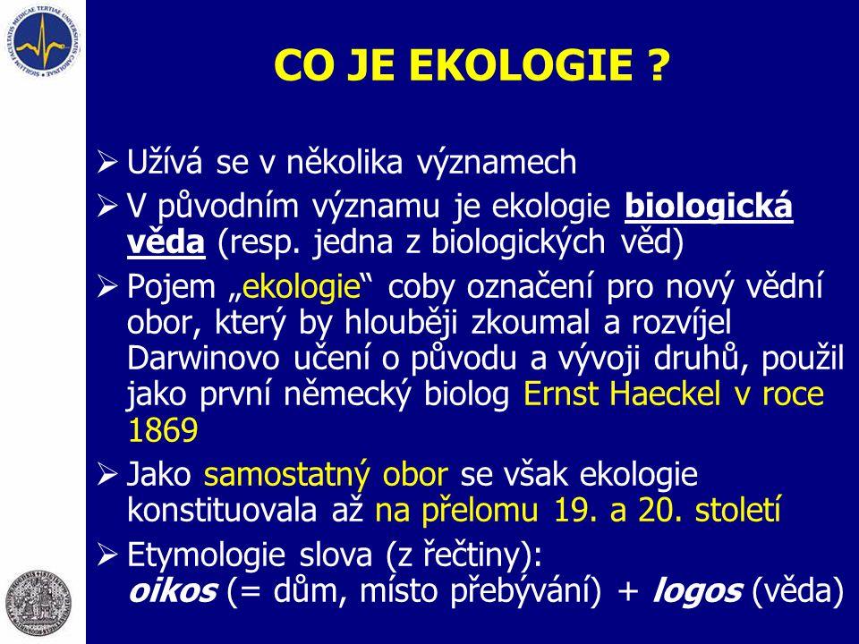 CO JE EKOLOGIE Užívá se v několika významech