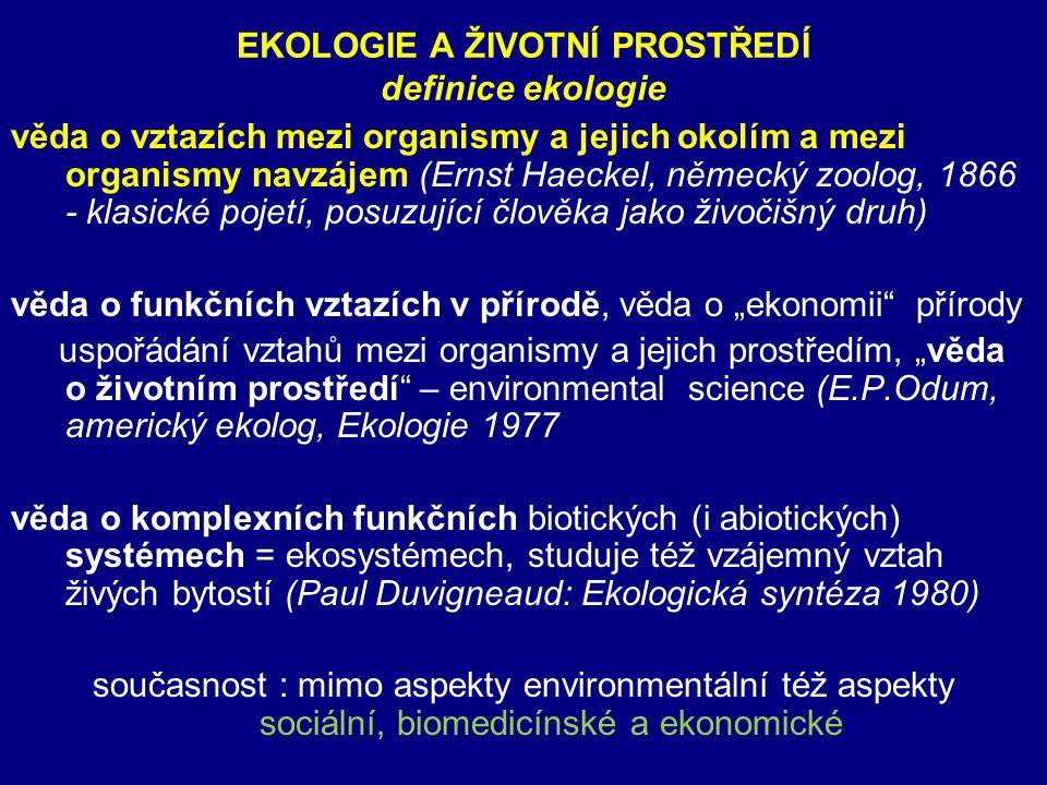 EKOLOGIE A ŽIVOTNÍ PROSTŘEDÍ definice ekologie