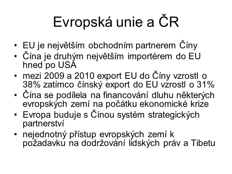 Evropská unie a ČR EU je největším obchodním partnerem Číny