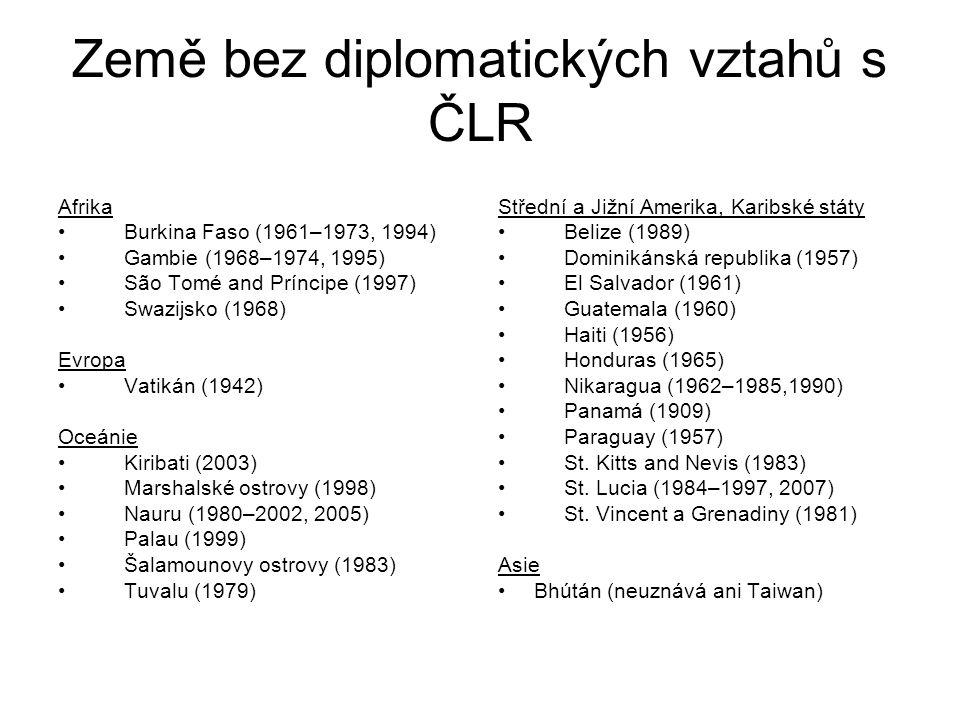 Země bez diplomatických vztahů s ČLR