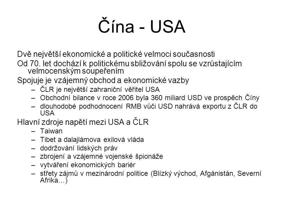Čína - USA Dvě největší ekonomické a politické velmoci současnosti