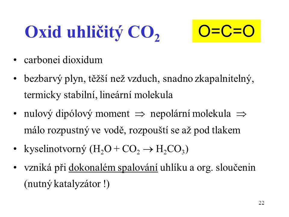 Oxid uhličitý CO2 O=C=O carbonei dioxidum
