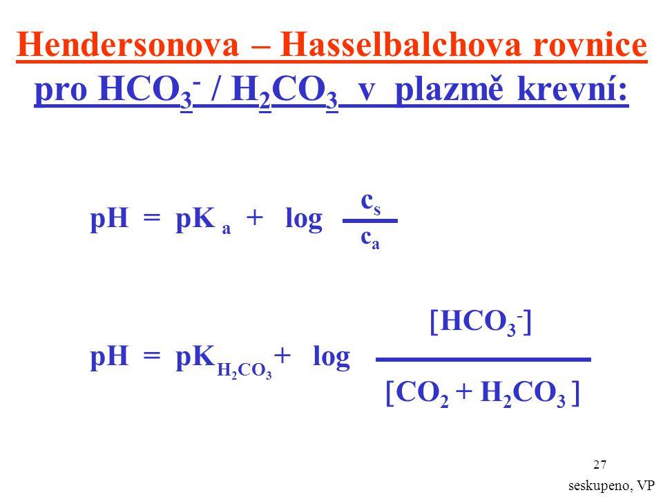 Hendersonova – Hasselbalchova rovnice pro HCO3- / H2CO3 v plazmě krevní: