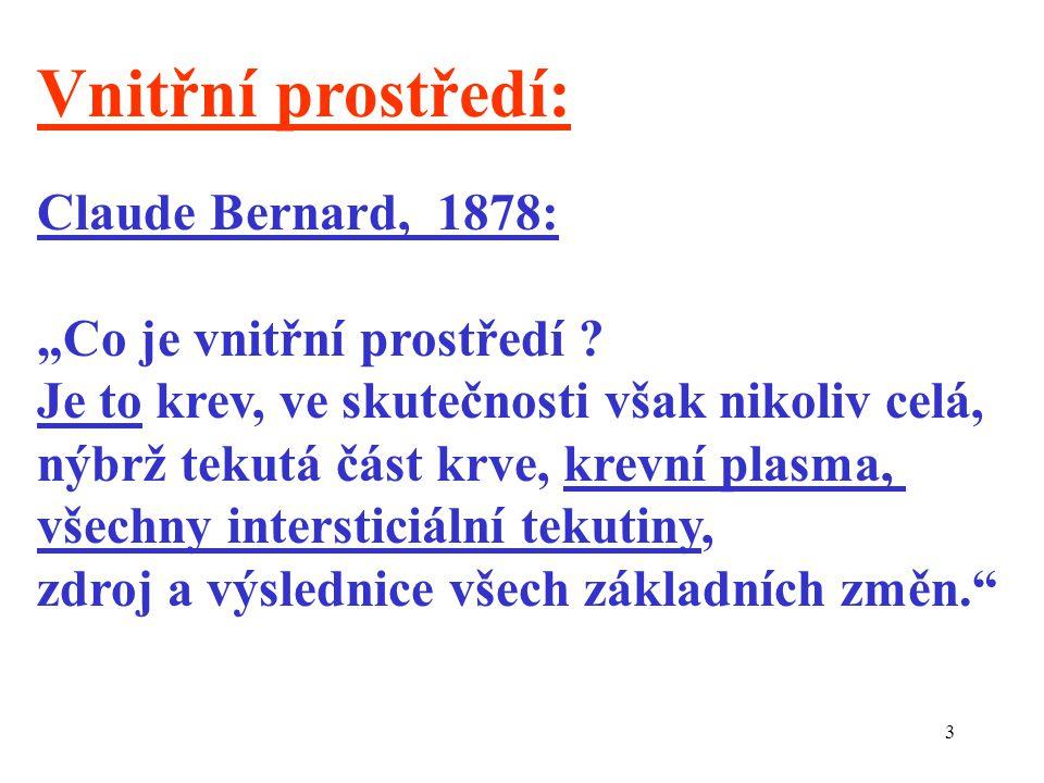 """Vnitřní prostředí: Claude Bernard, 1878: """"Co je vnitřní prostředí"""