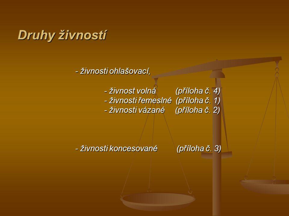 Druhy živností - živnosti ohlašovací, - živnost volná (příloha č. 4)