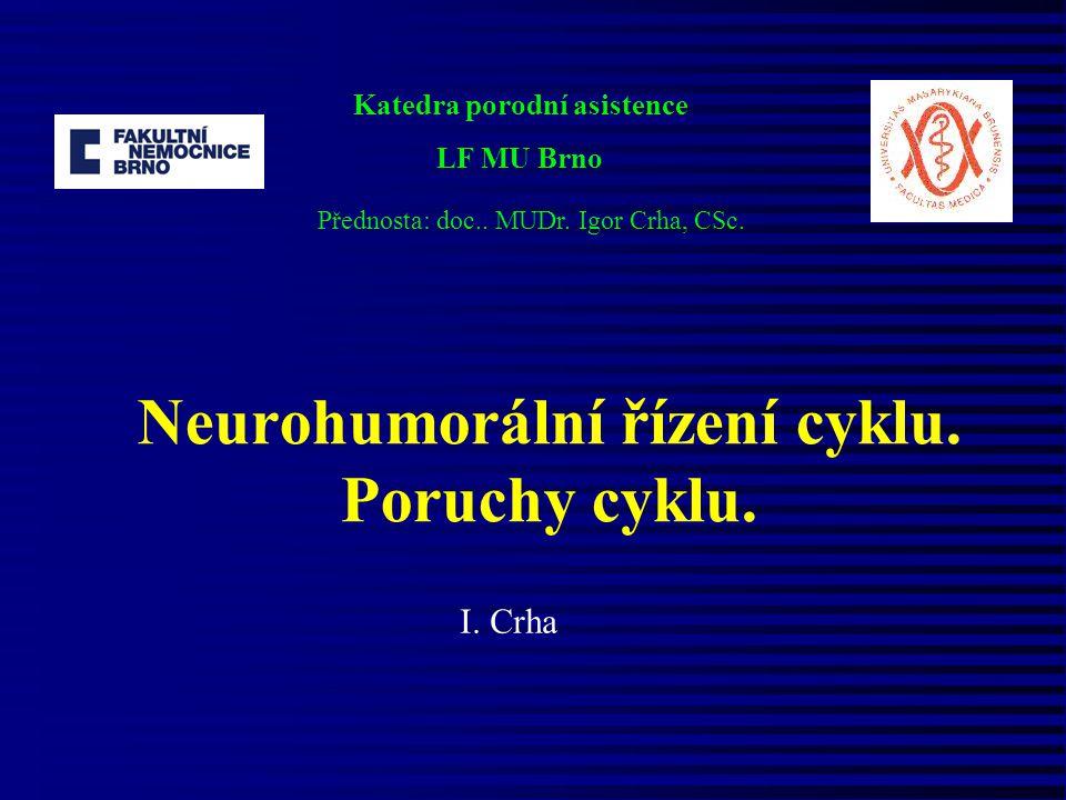 Neurohumorální řízení cyklu. Poruchy cyklu.