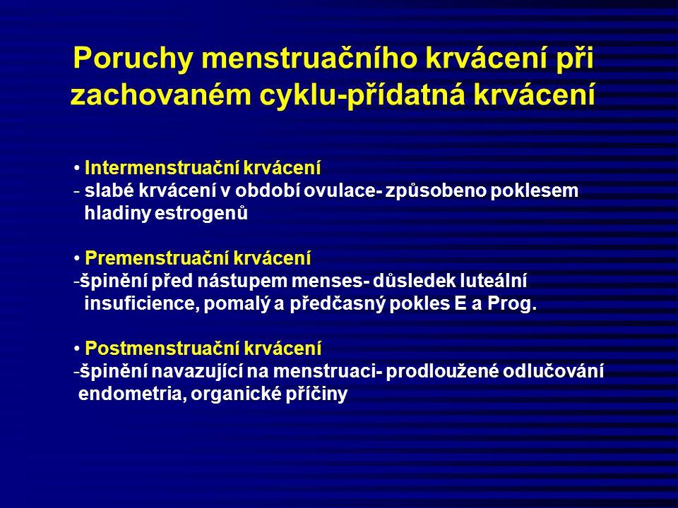 Poruchy menstruačního krvácení při zachovaném cyklu-přídatná krvácení