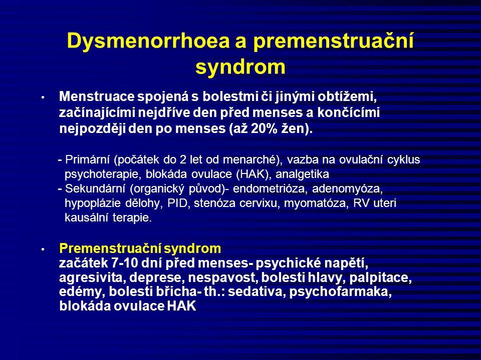 Dysmenorrhoea a premenstruační syndrom