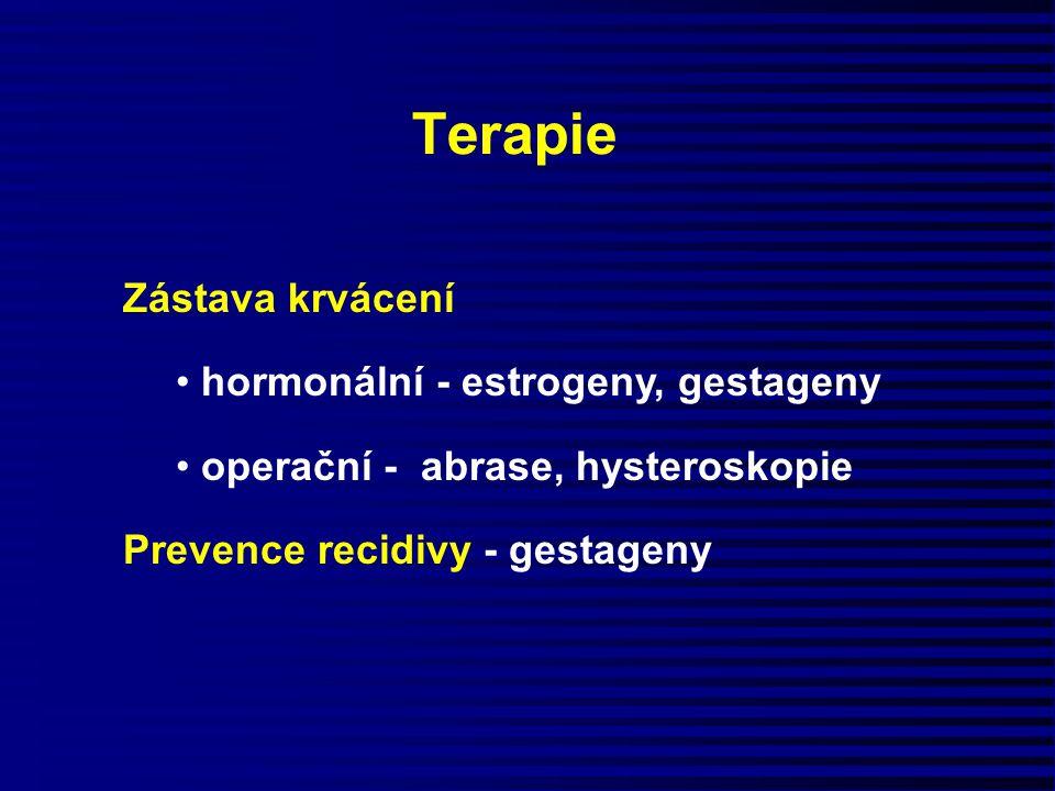 Terapie Zástava krvácení hormonální - estrogeny, gestageny