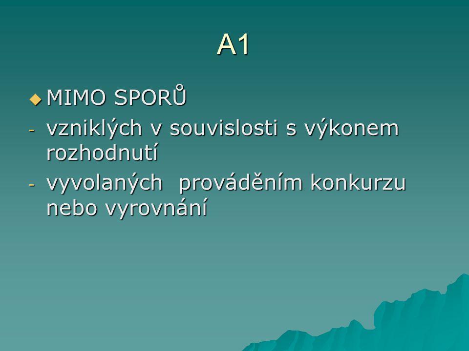 A1 MIMO SPORŮ vzniklých v souvislosti s výkonem rozhodnutí