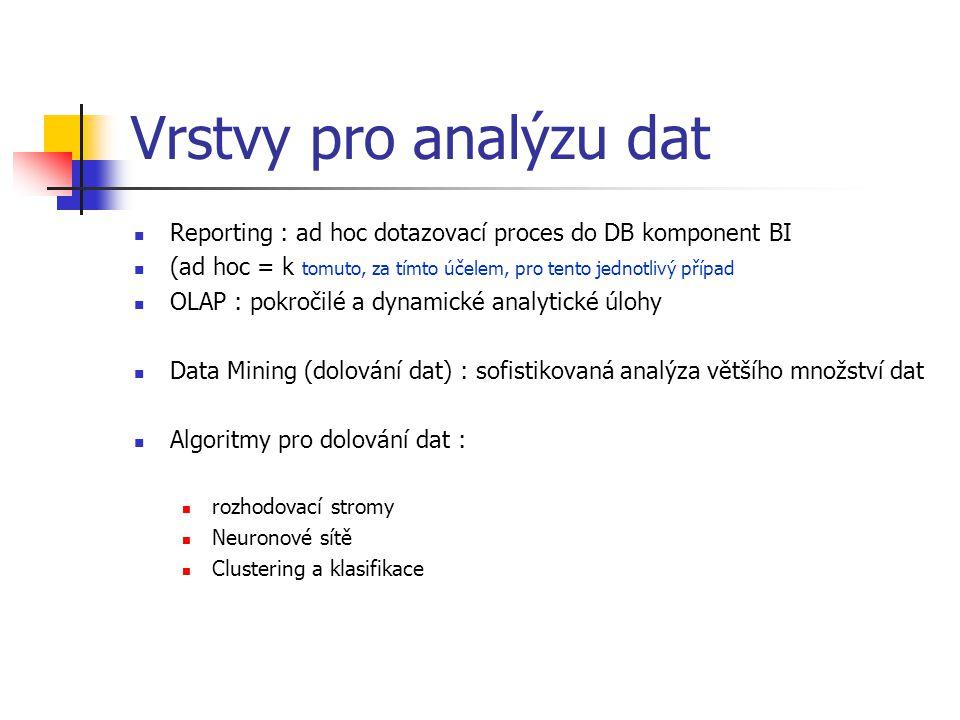 Vrstvy pro analýzu dat Reporting : ad hoc dotazovací proces do DB komponent BI. (ad hoc = k tomuto, za tímto účelem, pro tento jednotlivý případ.