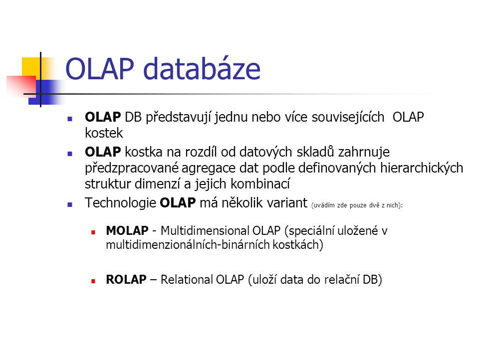 OLAP databáze OLAP DB představují jednu nebo více souvisejících OLAP kostek.