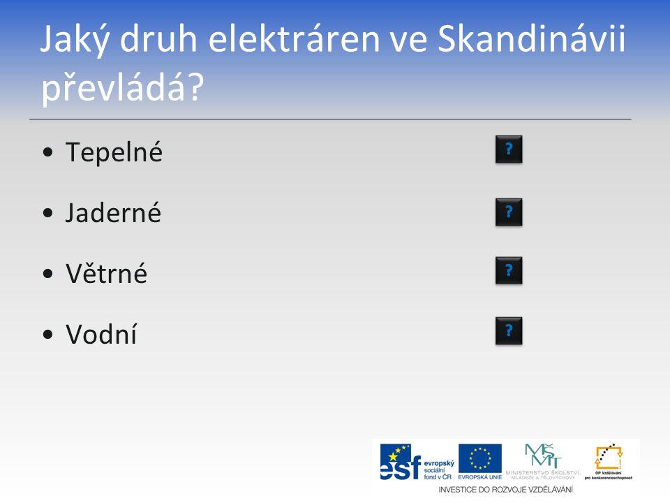 Jaký druh elektráren ve Skandinávii převládá