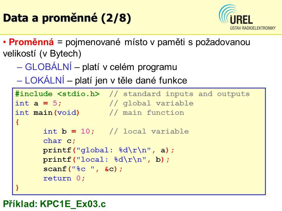 Data a proměnné (2/8) Proměnná = pojmenované místo v paměti s požadovanou velikostí (v Bytech) GLOBÁLNÍ – platí v celém programu.