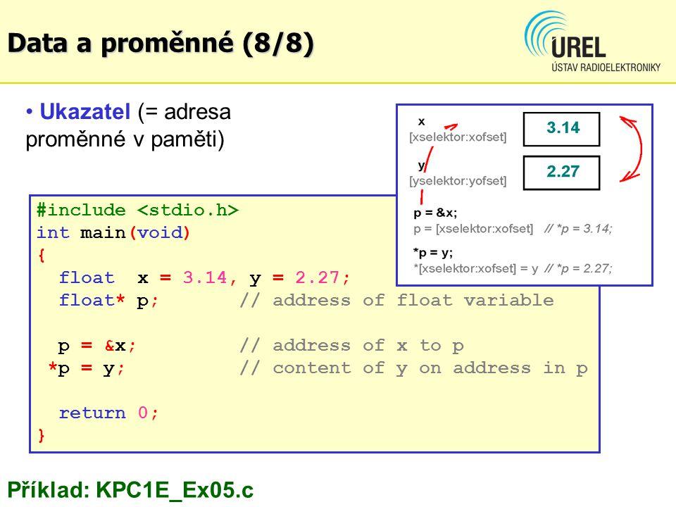Data a proměnné (8/8) Ukazatel (= adresa proměnné v paměti)