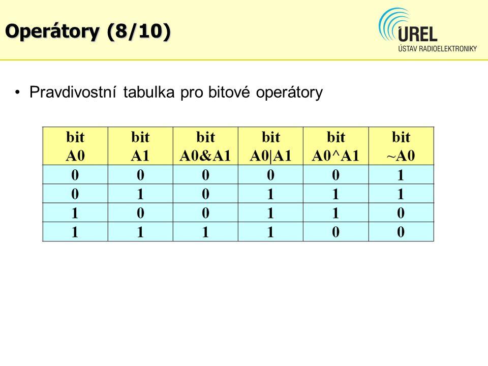 Operátory (8/10) Pravdivostní tabulka pro bitové operátory