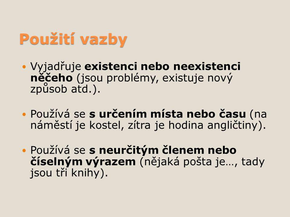 Použití vazby Vyjadřuje existenci nebo neexistenci něčeho (jsou problémy, existuje nový způsob atd.).