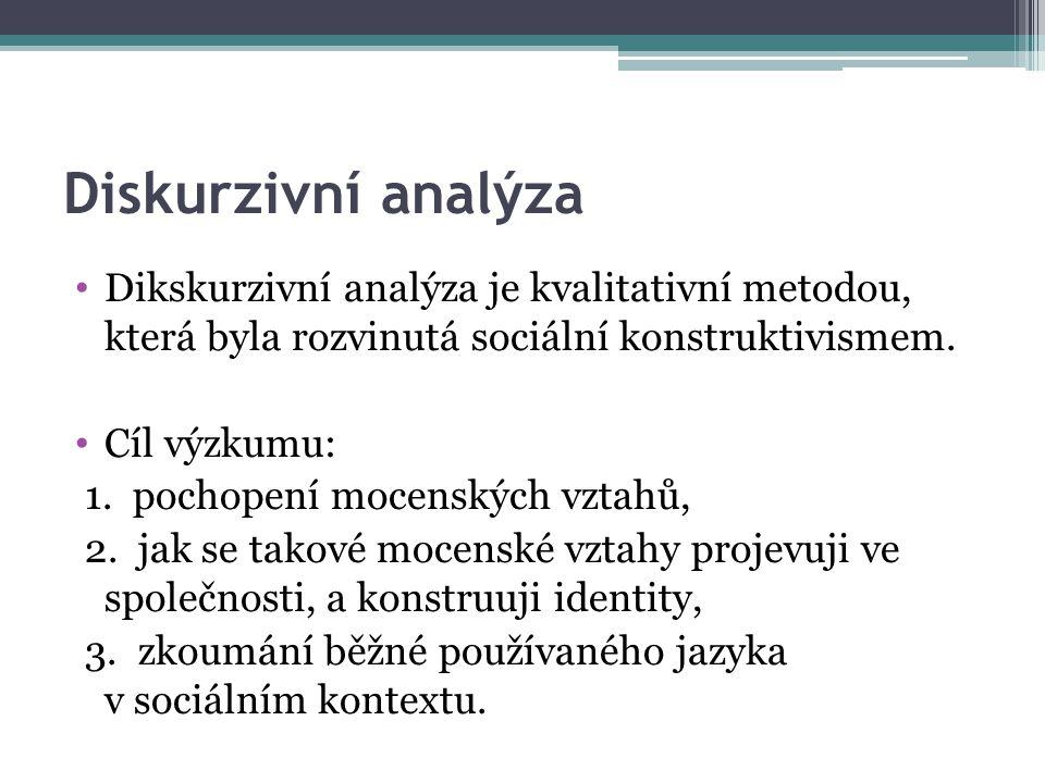 Diskurzivní analýza Dikskurzivní analýza je kvalitativní metodou, která byla rozvinutá sociální konstruktivismem.