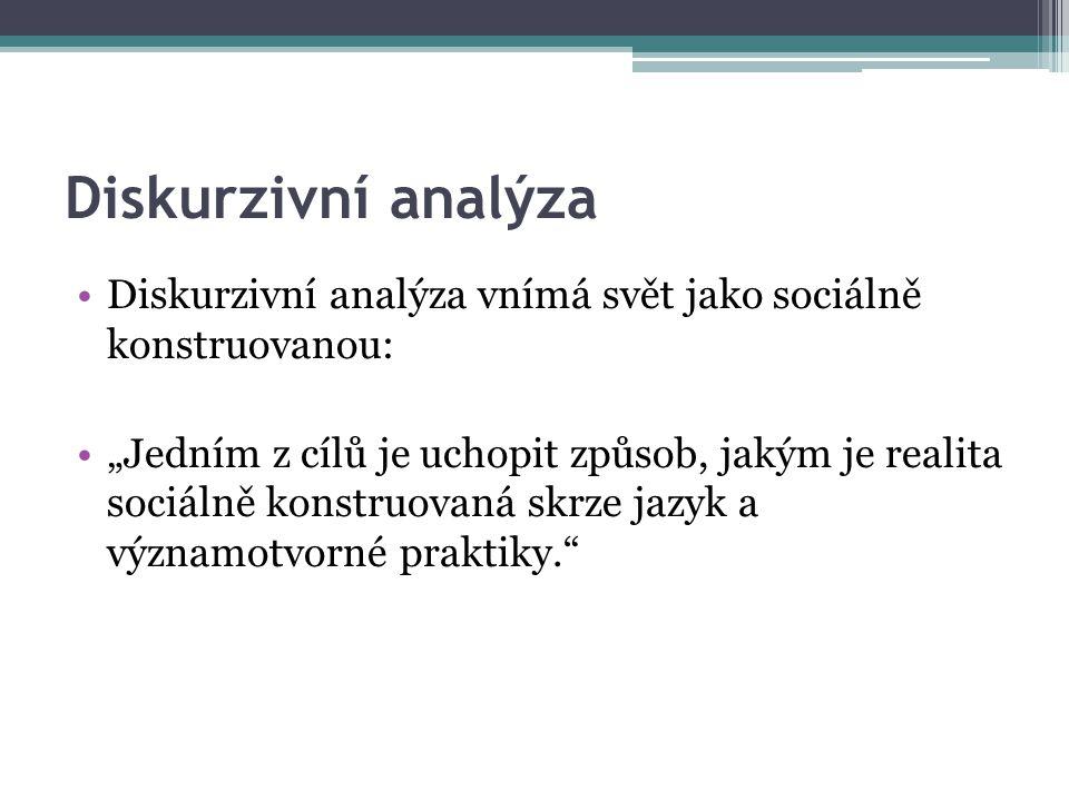 Diskurzivní analýza Diskurzivní analýza vnímá svět jako sociálně konstruovanou: