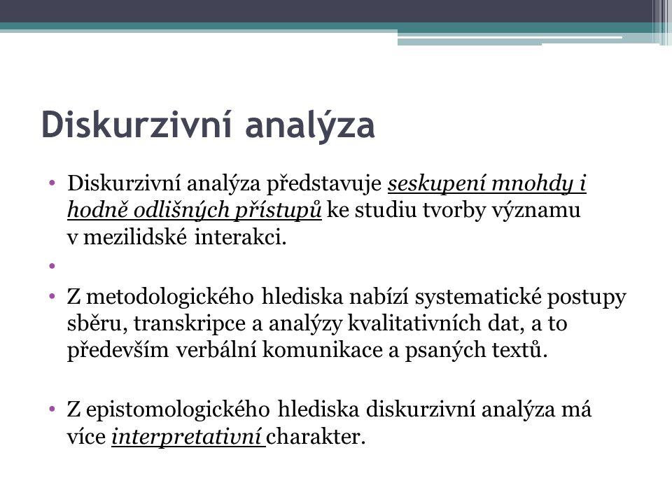 Diskurzivní analýza Diskurzivní analýza představuje seskupení mnohdy i hodně odlišných přístupů ke studiu tvorby významu v mezilidské interakci.