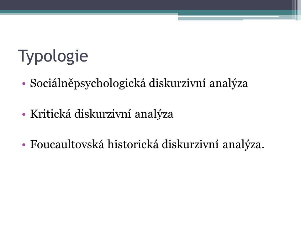 Typologie Sociálněpsychologická diskurzivní analýza