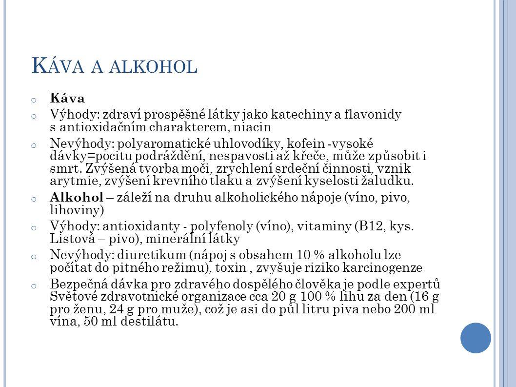 Káva a alkohol Káva. Výhody: zdraví prospěšné látky jako katechiny a flavonidy s antioxidačním charakterem, niacin.