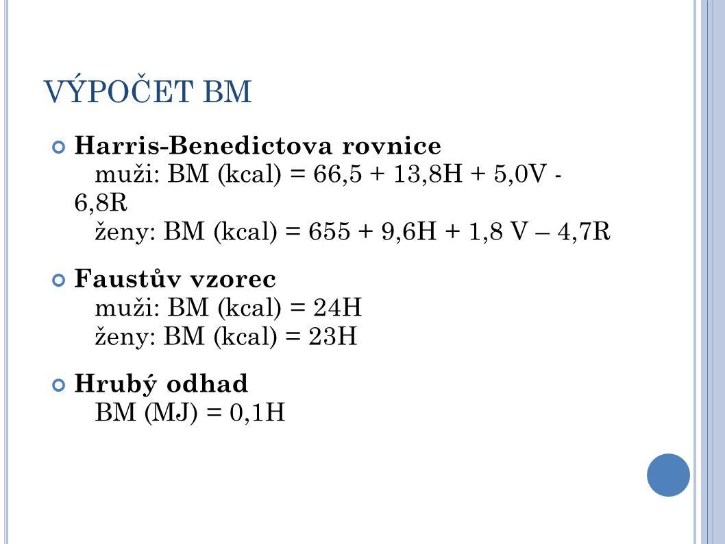 VÝPOČET BM Harris-Benedictova rovnice muži: BM (kcal) = 66,5 + 13,8H + 5,0V - 6,8R ženy: BM (kcal) = 655 + 9,6H + 1,8 V – 4,7R.