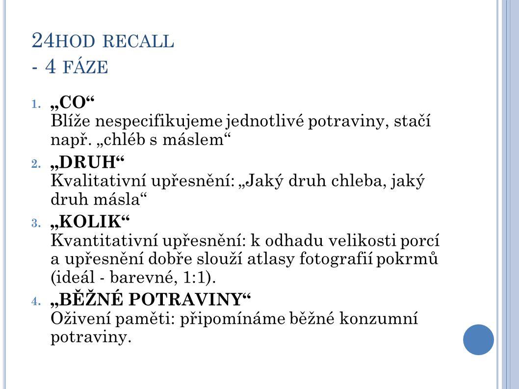 """24hod recall - 4 fáze """"CO Blíže nespecifikujeme jednotlivé potraviny, stačí např. """"chléb s máslem"""