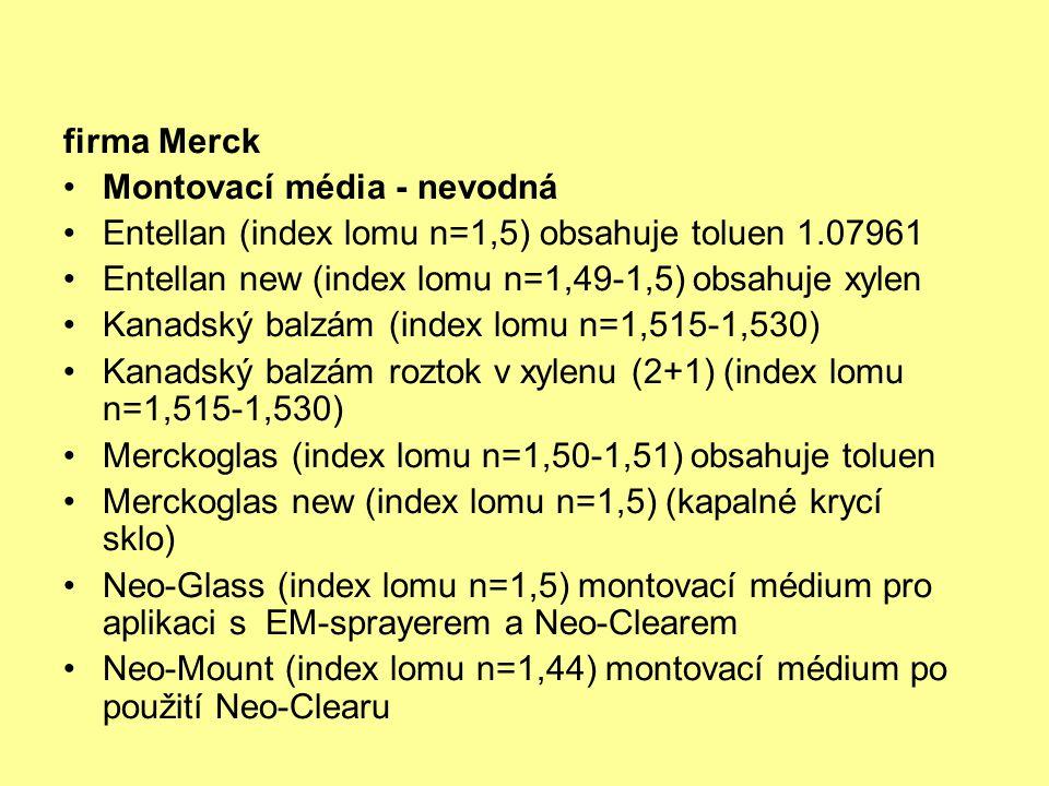 firma Merck Montovací média - nevodná. Entellan (index lomu n=1,5) obsahuje toluen 1.07961 Entellan new (index lomu n=1,49-1,5) obsahuje xylen