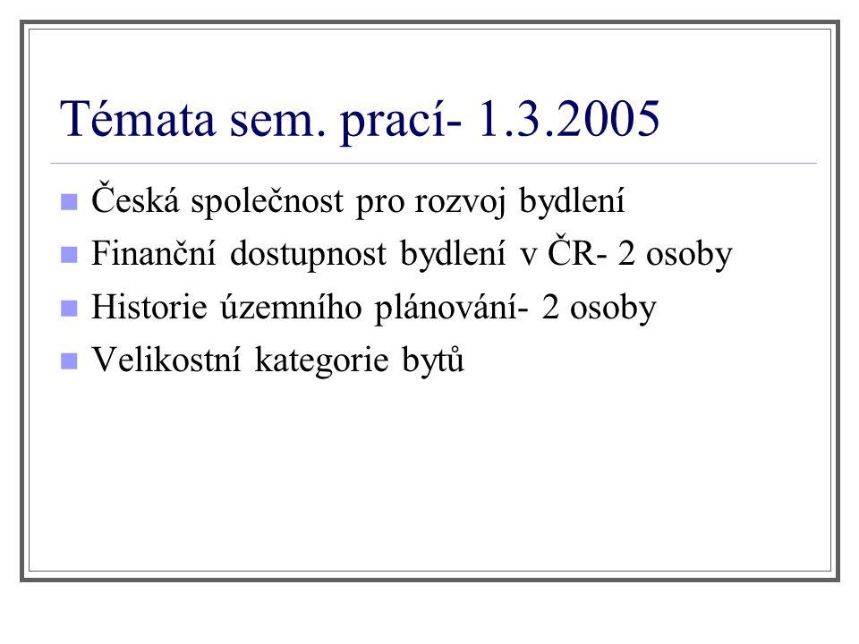 Témata sem. prací- 1.3.2005 Česká společnost pro rozvoj bydlení