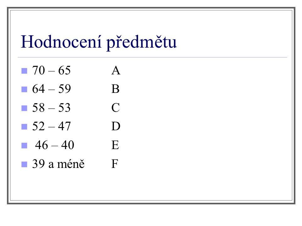 Hodnocení předmětu 70 – 65 A 64 – 59 B 58 – 53 C 52 – 47 D 46 – 40 E