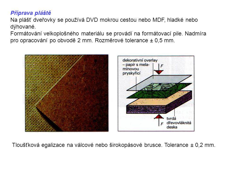 Příprava pláště Na plášť dveřovky se používá DVD mokrou cestou nebo MDF, hladké nebo dýhované.